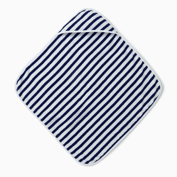 Navy Stripe Hooded Baby Bath Towel