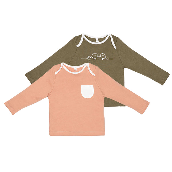 Organic Khaki/Pink Long sleeve t-shirt 2 pack