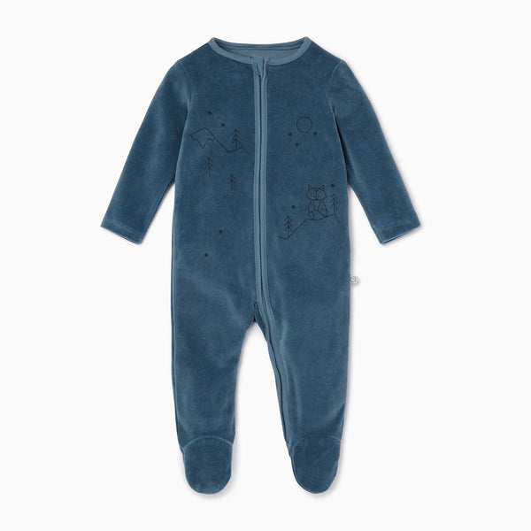 Velour Zip Up Sleepsuit