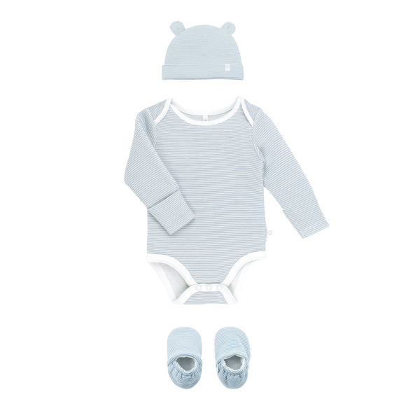 baby blue stripe bodysuit long-sleeve, little bear hat and baby booties