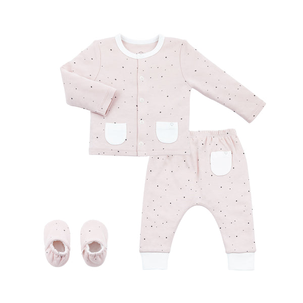 stardust baby booties, cardigan and baby yoga pants