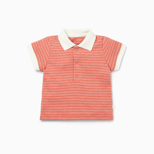 Coral Stripe Polo Shirt