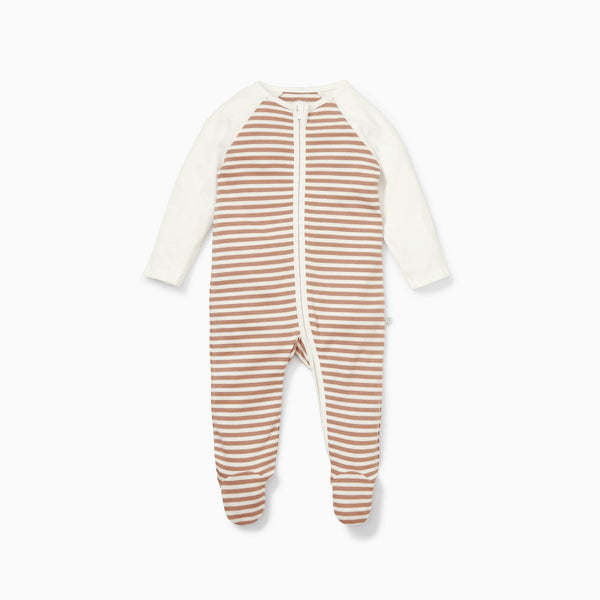 Caramel Stripe Raglan Zip-Up Sleepsuit