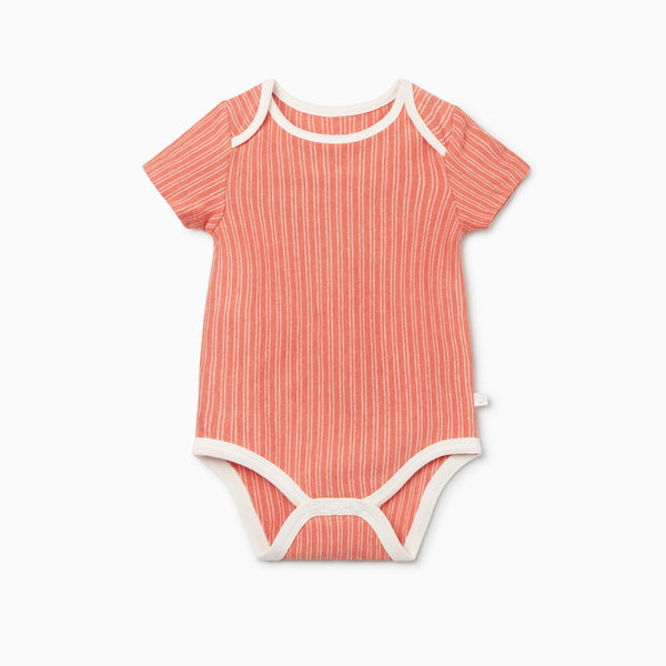 Coral Stripe Short Sleeve Bodysuit