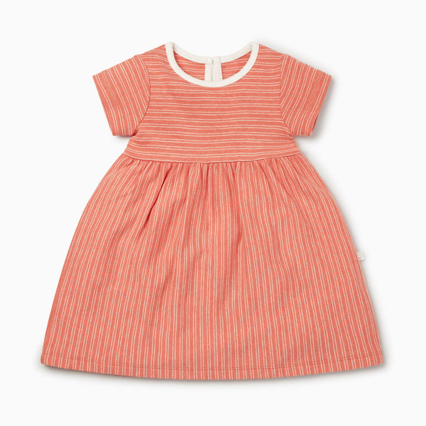 Coral Stripe Short Sleeve Dress