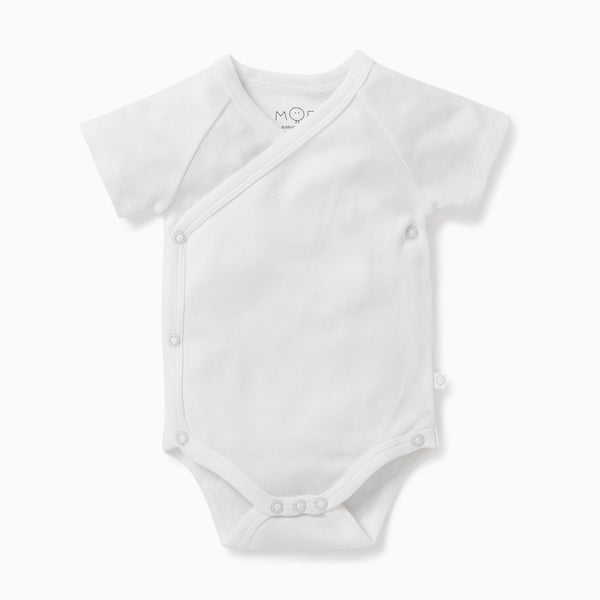 White baby and toddler short-sleeve kimono bodysuit