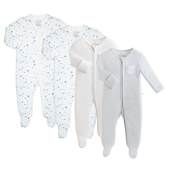 Space Zip-Up Sleepsuit 4 Pack