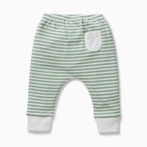 back of a baby and toddler sage yoga pants