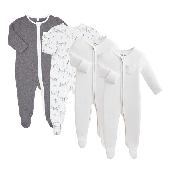 Lunar Zip-Up Sleepsuit 4 Pack