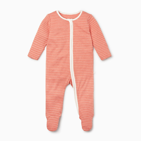 Coral Stripe Zip-Up Sleepsuit