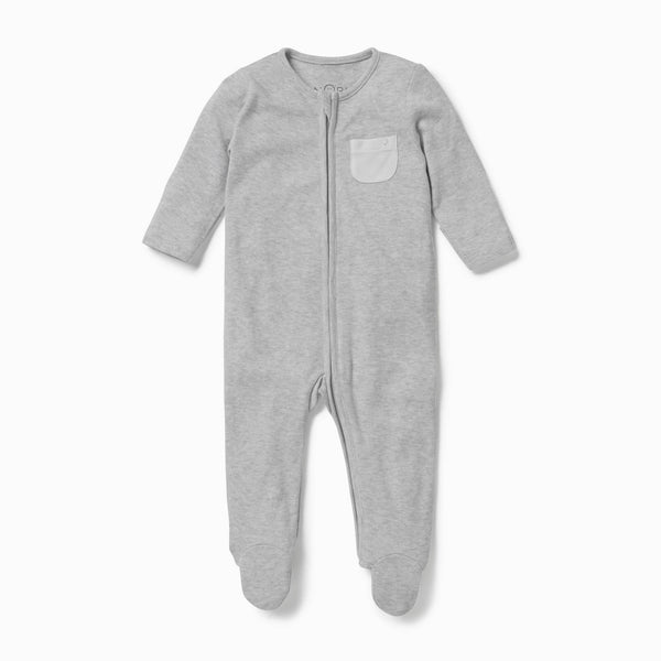 Light grey baby sleepsuit in organic cotton