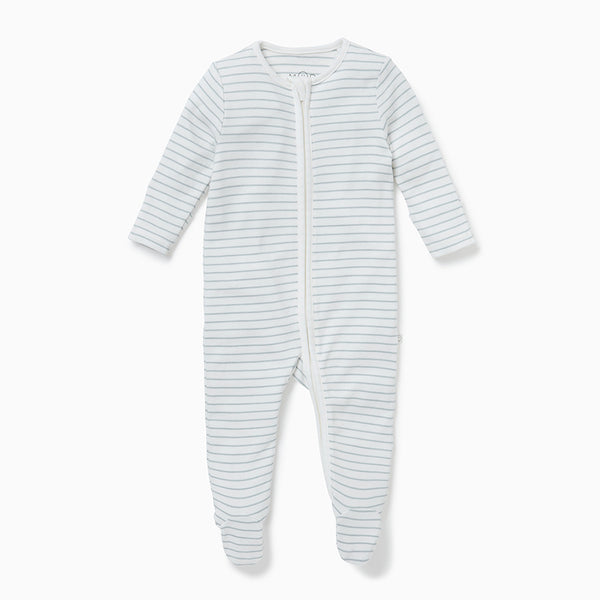 Teal Stripe Zip-Up Sleepsuit