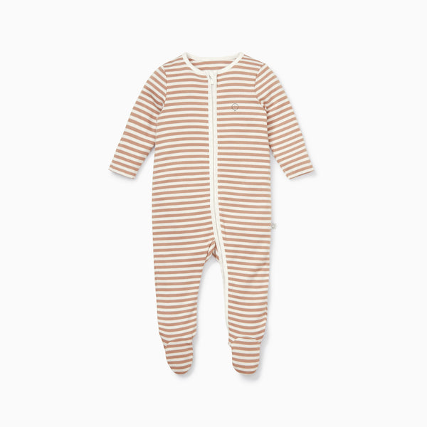 Caramel Stripe Zip-Up Sleepsuit