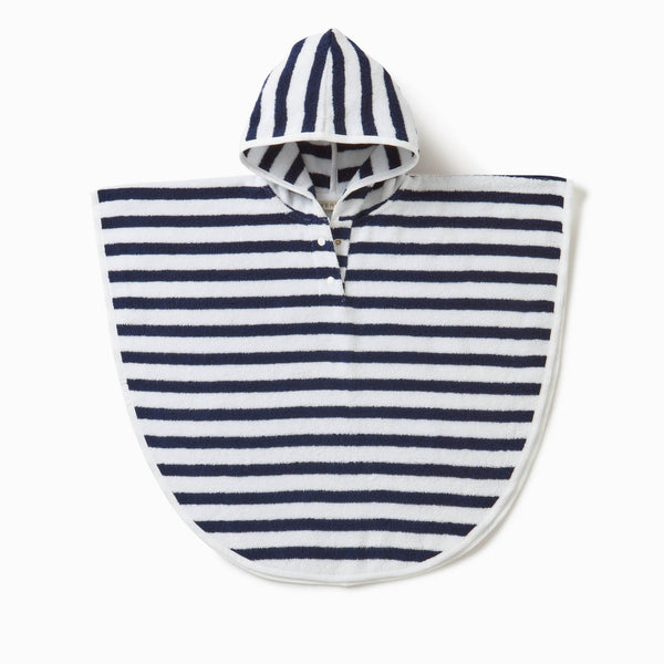 Navy Stripe Hooded Poncho