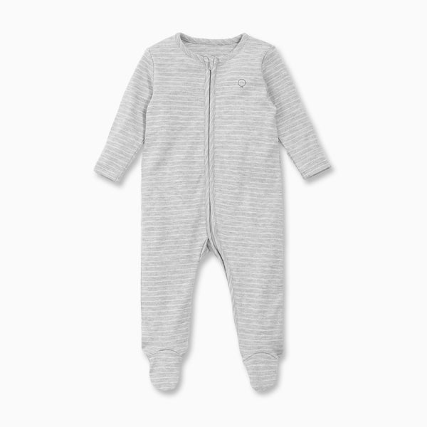 Grey & White Stripe Zip-Up Sleepsuit