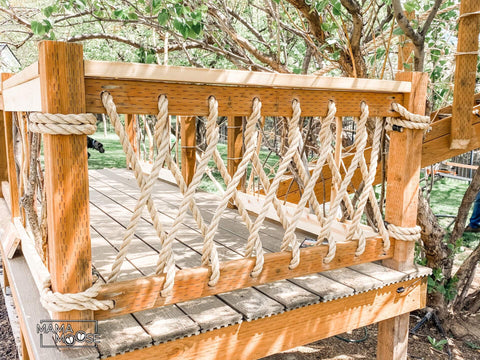 intricate rope fence for treehouse