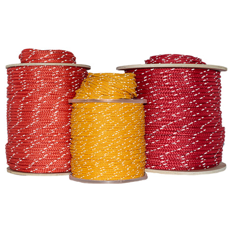 red and yellow spools of polyethylene rope