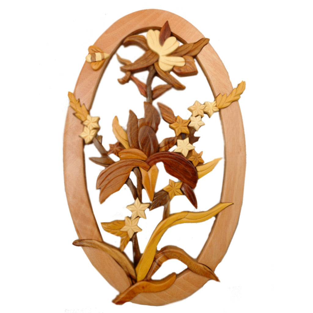 Intarsia Columbine and Bee Plaque