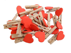 Heart Shaped Mini Pegs x 50