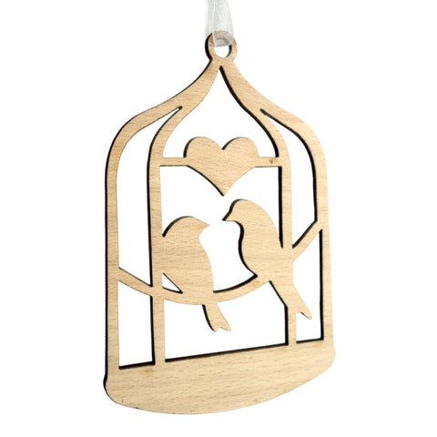 Timber-Treasures Twin Birds in Cage Laser Cut Hanging Decoration
