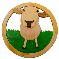 Intarsia Sheep Plaque