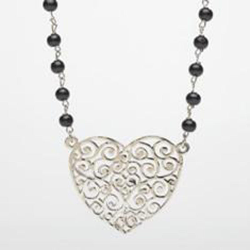 Chrome Filigree Heart Pendant Necklace
