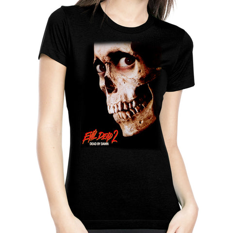 evil dead 2 womens tee rock rebel hot topic too fast sourpuss goth punk horror 80s necronomicon skull