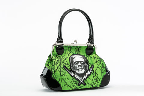 Frankenstein Lace Handbag Green goth punk horror psychobilly rockabilly pinup glam universal monsters boris karloff hot topic sourpuss too fast