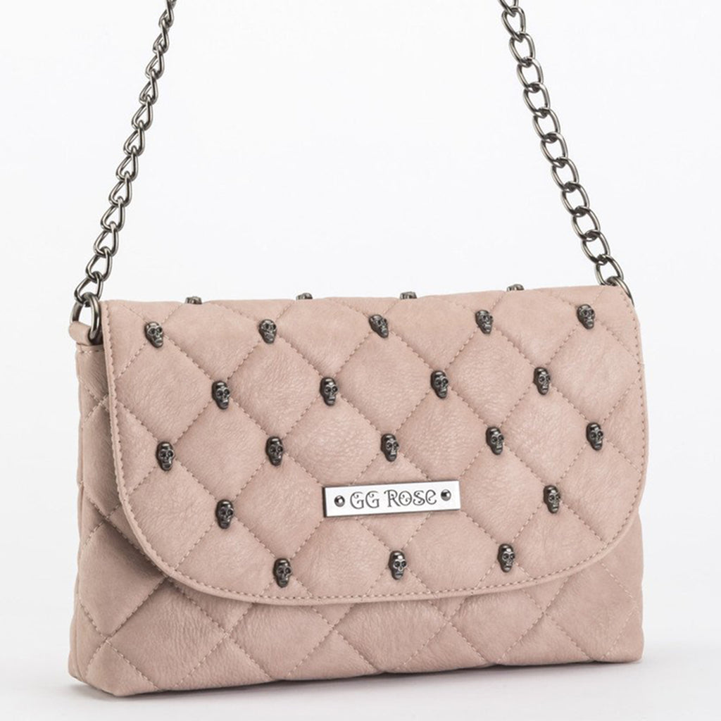 Quilted Skulled Crossbody Blush