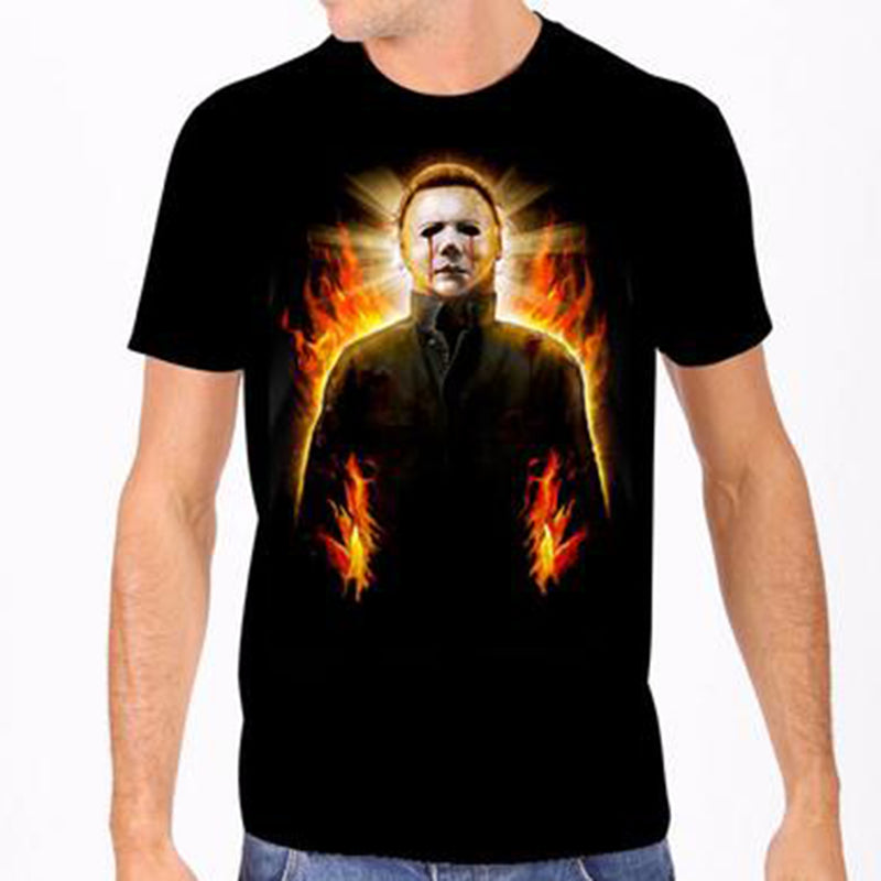 Michael Myers Halloween Flames Men's Tee