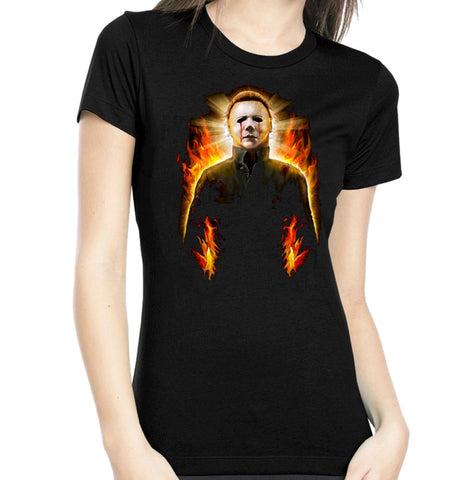Halloween 2 Michael Myers Flames Women's Tee rock rebel hot topic too fast sourpuss goth punk horror retro rockabilly
