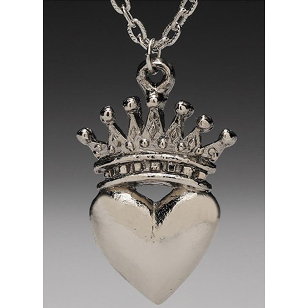 Heart and Crown Bejeweled Pendant Necklace