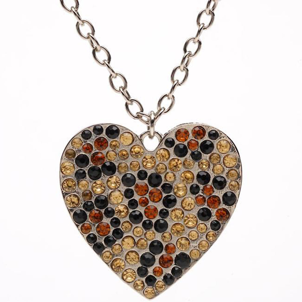 Leopard Jeweled Heart Pendant Necklace