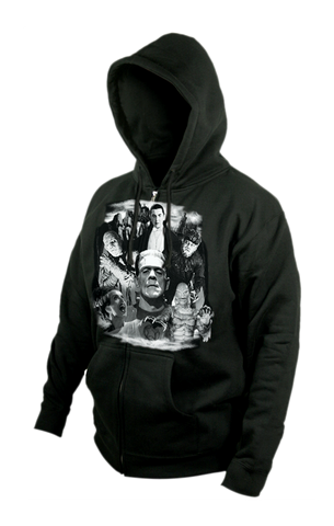 Universal Monsters Collage Men's Zip Up Hoodie goth punk horror classic heavy metal tattoo rocker hot topic sourpuss