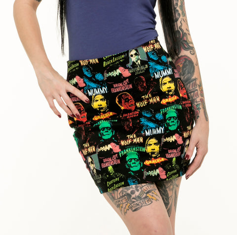 Monster Pattern Mini Skirt