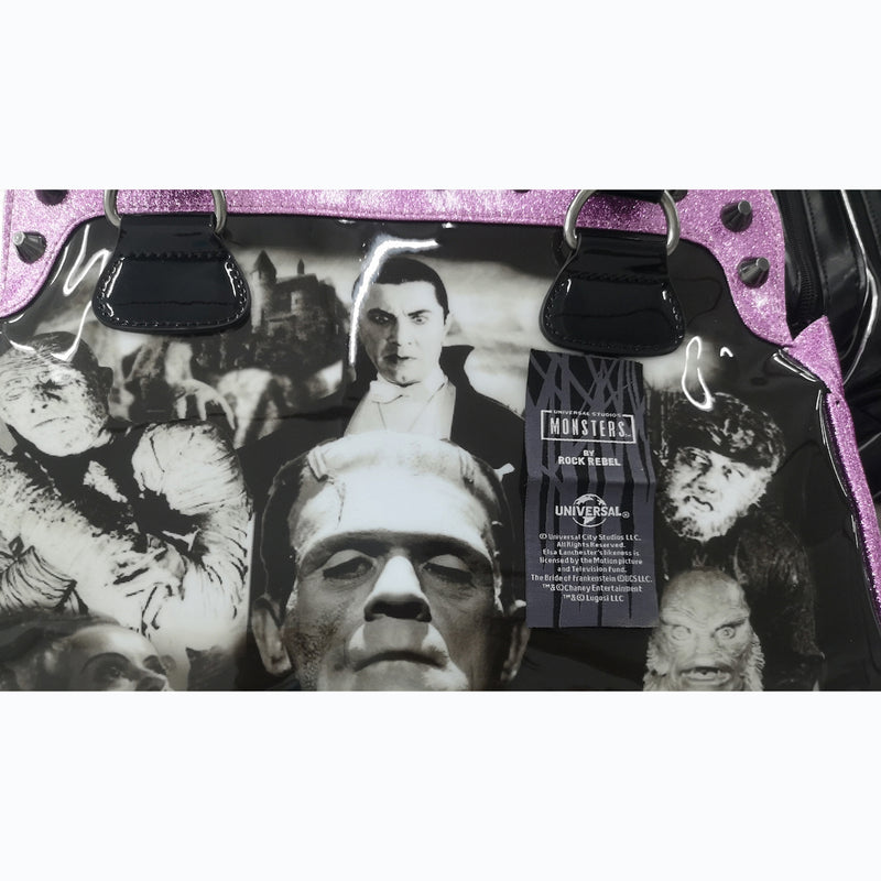 Pink Glitter Universal Monster Collage Handbag - Web Exclusive!