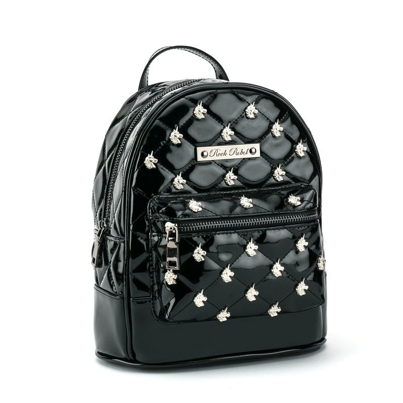 Unicorn Quilted & Studded Black Mini Backpack