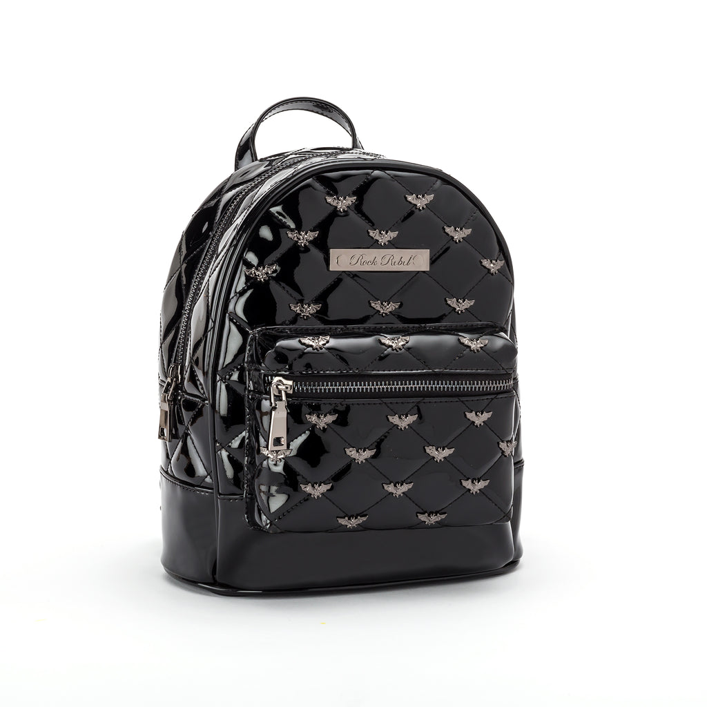 Bats Quilted & Studded Black Mini Backpack