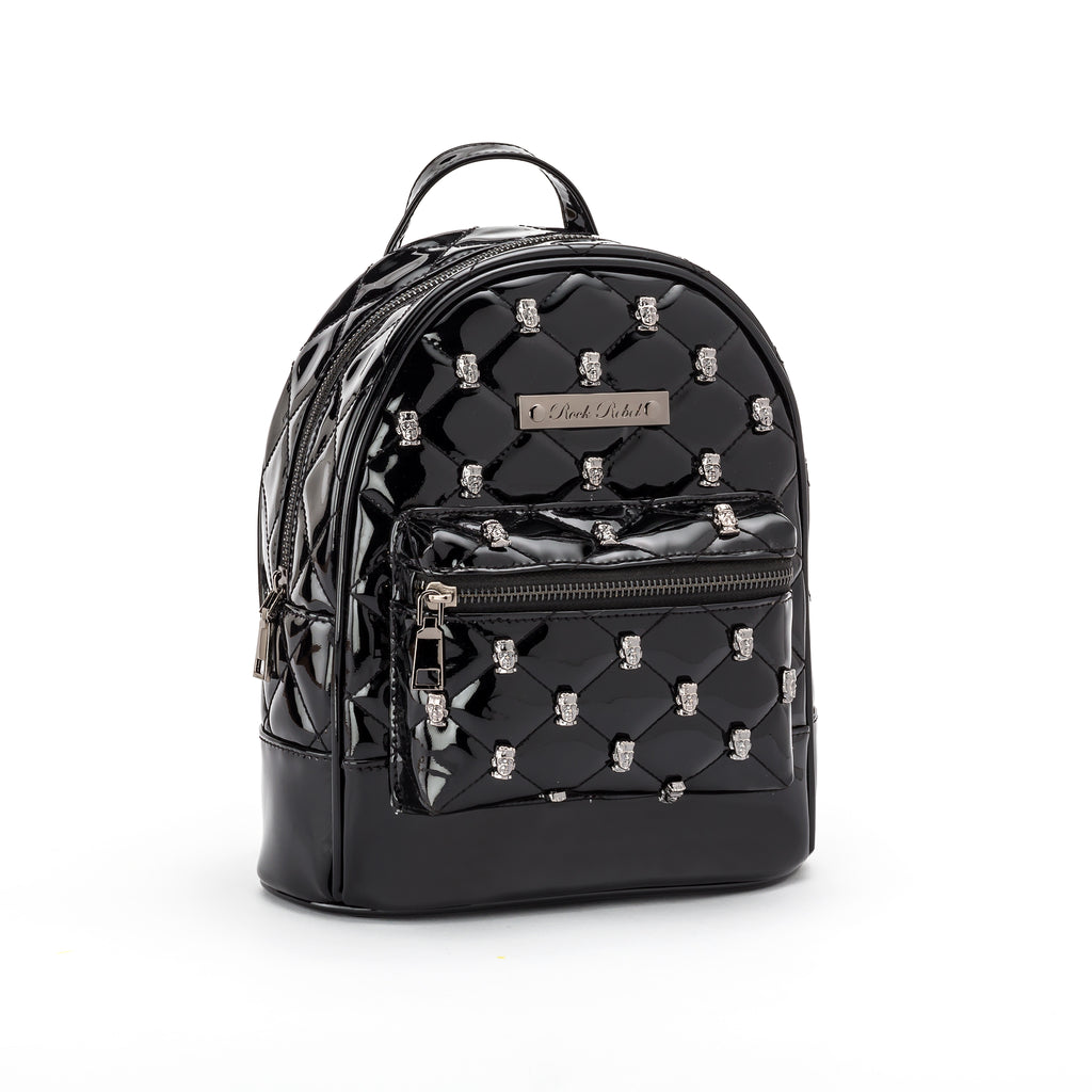 Frankenstein Head Quilted & Studded Black Mini Backpack