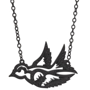 Black Sparrow Pendant Necklace