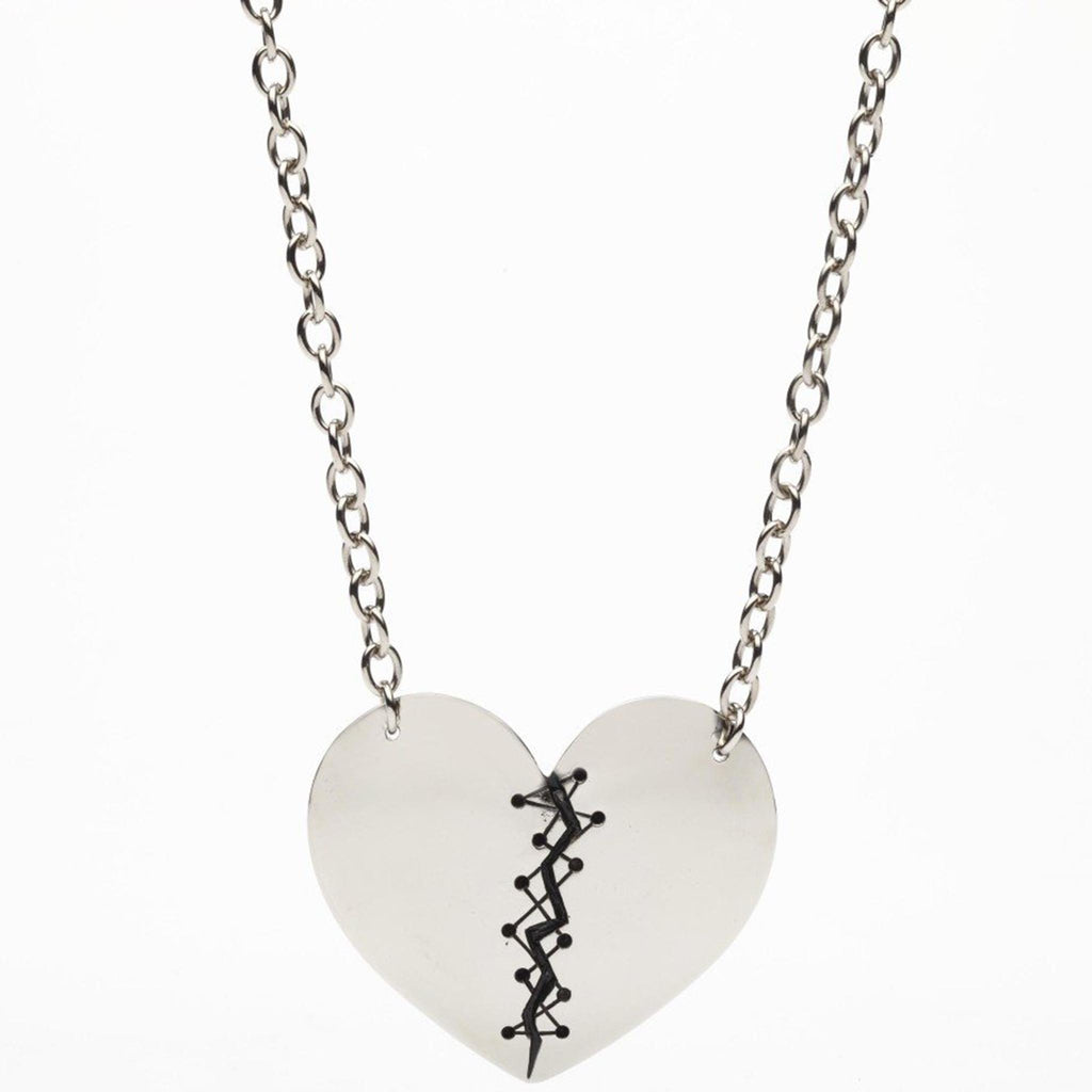 Stitched Up Heart Pendant Necklace