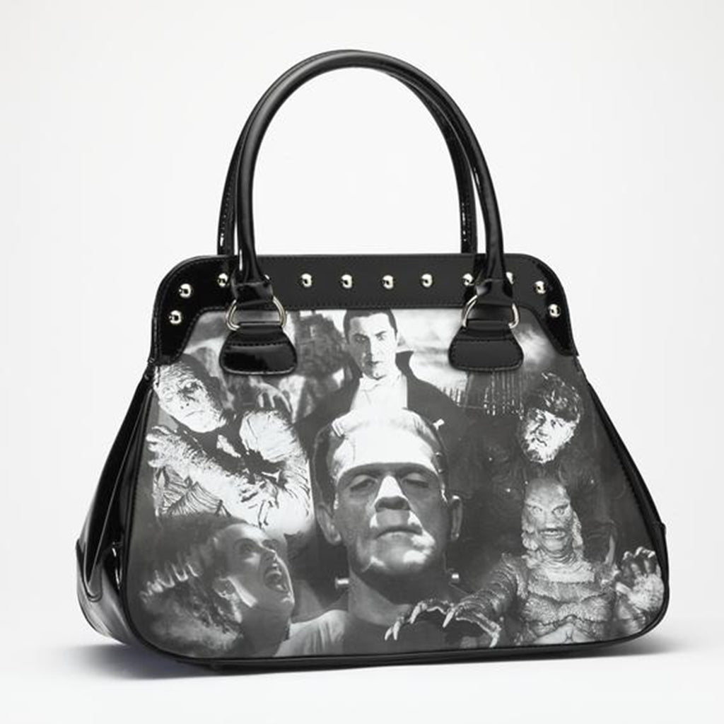 Black Monster Collage Handbag