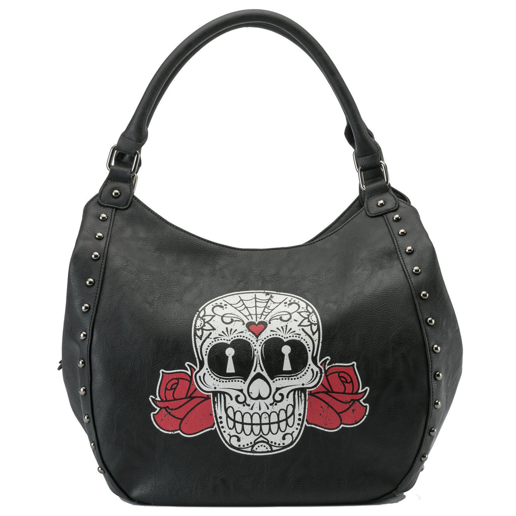 Skull and Roses Printed Hobo