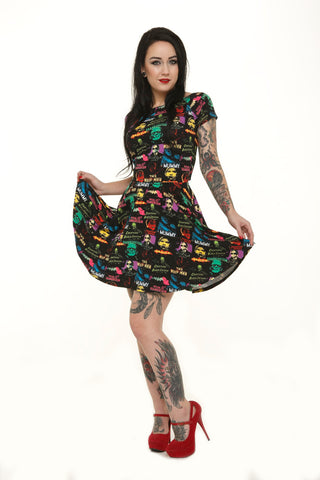 Monster Pattern Skater Dress