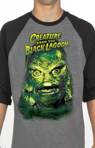 creature from the black lagoon men's raglan baseball universal monsters rock rebel hot topic too fast sourpuss goth punk classic horror skateboard