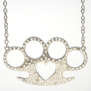 Bling Heart Knuckles Pendant Necklace