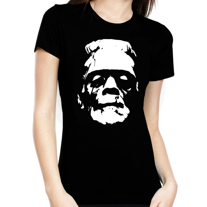 Black & White Frankenstein Head Women's Tee