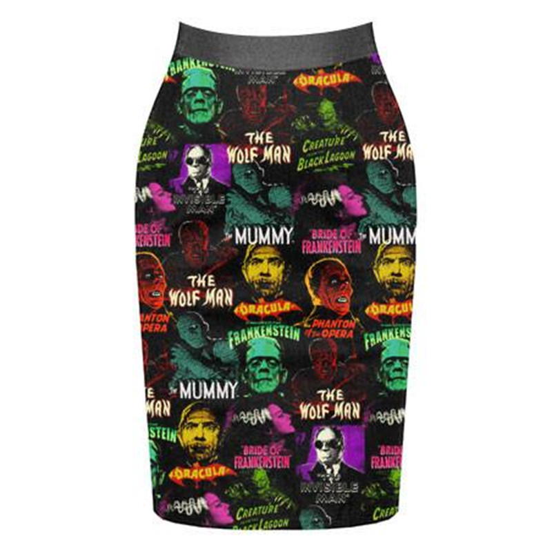 Monster Collage Pencil Skirt