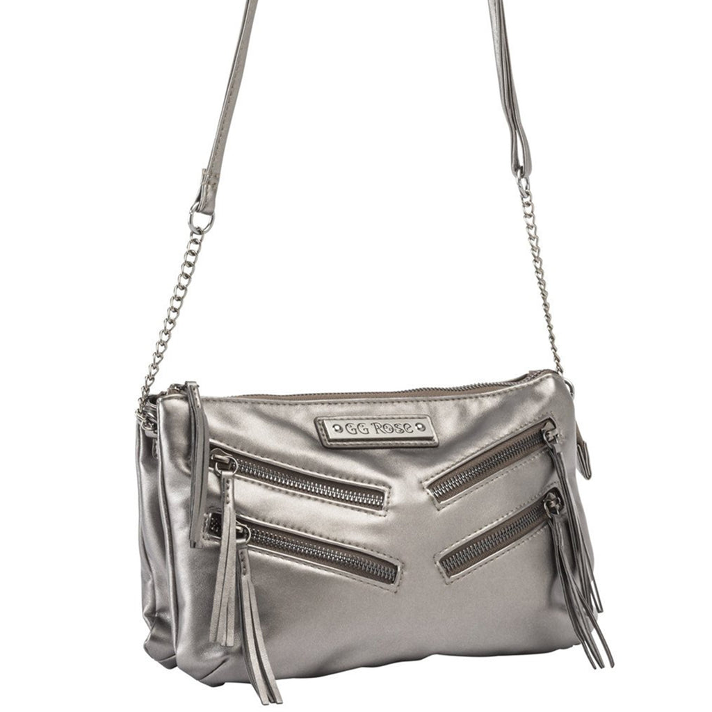 GG Rose Metallic Crossbody in Gunmetal