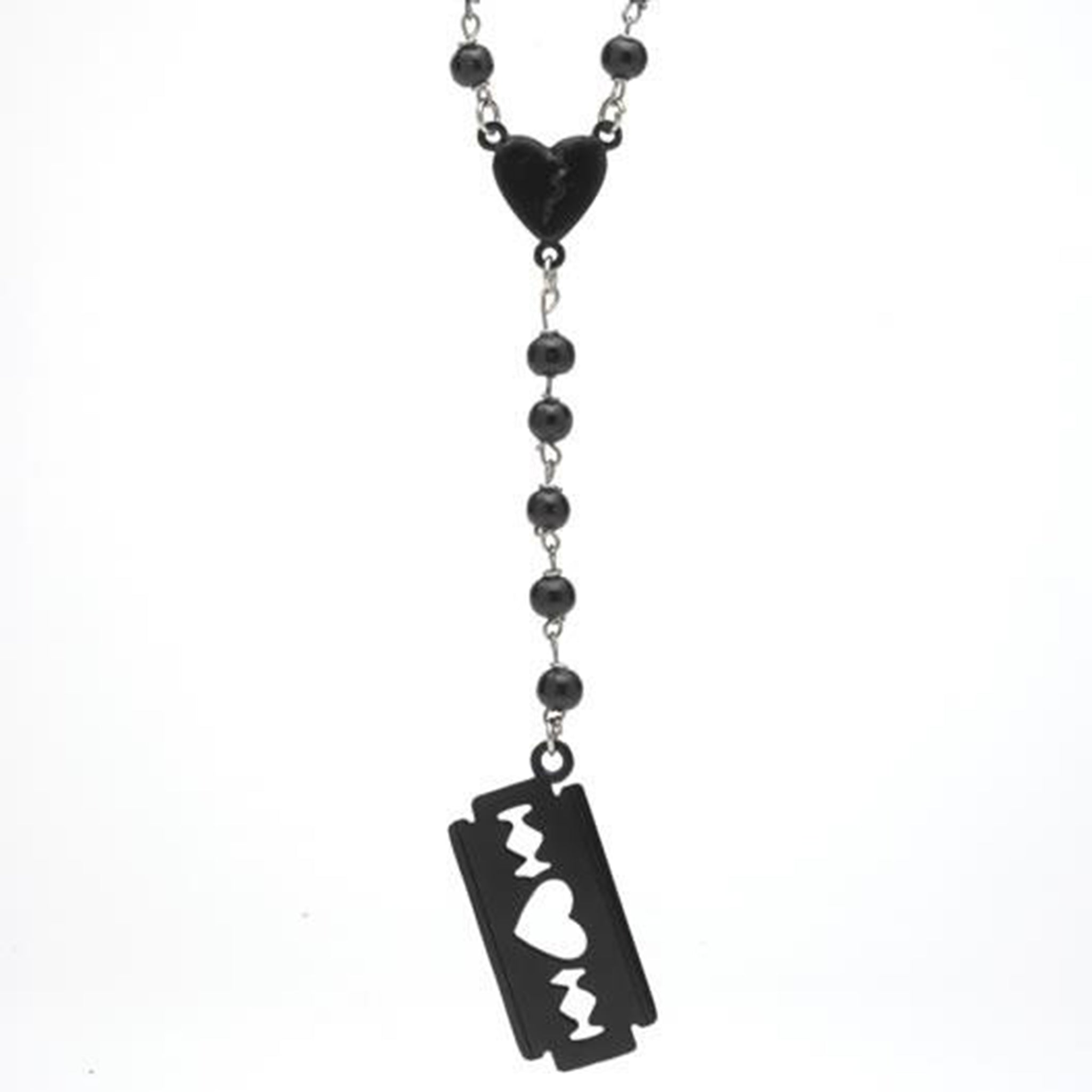 Love hurts razor blade rosary necklace rock rebel love hurts razor blade rosary necklace aloadofball Choice Image